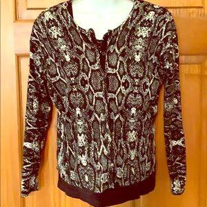 Animal/snake print knit cardigan.